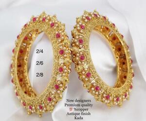 Ethnic 2 Pcs Indian Gold Plated Kada Jewelry CZ Pearl Bangles Bracelet Set SE