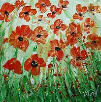 Orange Flowers Dreams of Summer Fields Original Oil Painting Impasto Textured