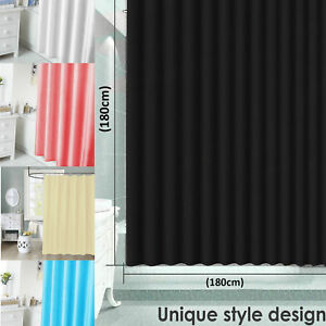 Waterline Bathroom Plain Waterproof Shower Curtain with 12 Matching Rings Set