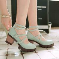 Women Heart Buckle Platform Chunky Heel Mary Jane Round Toe Ankle Strap Shoes us