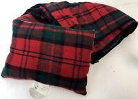 "Vintage 56"" Plaid New Zealand Wool Stadium Blanket Throw Fold Up Bag w/ Pillow"