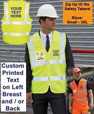 Personalised Custom Printed Hi Vis Safety Zip Tabard Zip Up Vest ID Pocket S-3XL