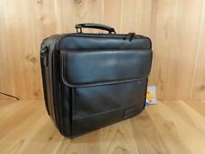 Targus Laptop Bag Briefcase Black Leather Lots of Pockets File Section