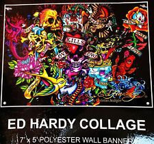 "Ed Hardy Collage Polyester Bedroom Dorm Room Tattoos Wall Banner Decor 7"" x 5"""