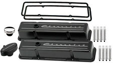 BILLET SPECIALTIES BLACK TALL VALVE COVERS,CHEVROLET SCRIPT,PCV BREATHER,RIB,SBC