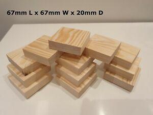 Wooden 67mm Square Blocks/Plaques Crafts Bundle Natural Eco Bricks