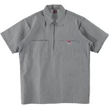 Ben Davis Short Sleeve Half Zip Work Shirt Stripe Hickory