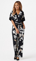 Susan Graver Petite Printed Liquid Knit Jumpsuit, Black/Neutral, SP