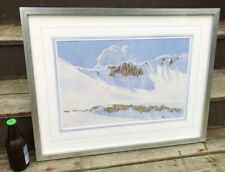 Donald S Dwight CO Artist Original Watercolor Snow Spring Ski Painting Framed