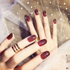 24 PCS Red Shining New Nail Art False Tips Short False Full Cover Nail Tips