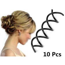 Hair Styling 10pcs Spiral Spin Screw Bobby Pin Hair Clip Twist Barrette Black US