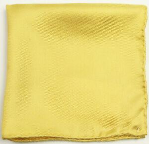 New Mens Yellow Solid Textured 100% Silk Handkerchief Pocket Square