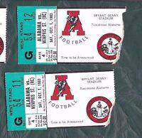 1983 10/1 college football ticket stub lot  2 Memphis State Alabama Crimson Tide