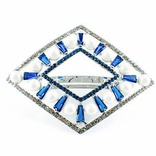 USA PEARL BARRETTE use Swarovski Crystal Hair Clip Hairpin Elegant Blue SW14
