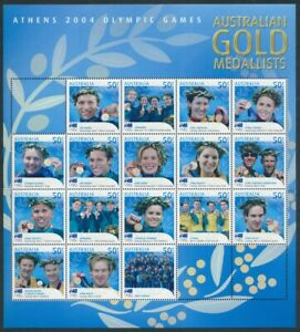AUSTRALIA: 2004 Athens Olympic Gold Medallists  composite stamp miniature sheet