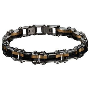 Inox Jewelry Men'S Stainless Steel Gold Ip And Black Ip Reversible Bracelet
