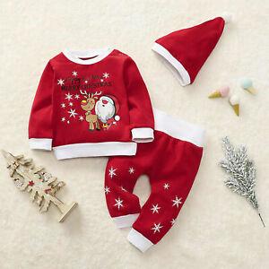 Weihnachten Baby Kleidung Tops Strampler Hosen Hut Outfits 3er Set