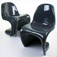 Retro Black S Line Dining Kitchen Chair Matte Finish Single Mould Plastic Chairs