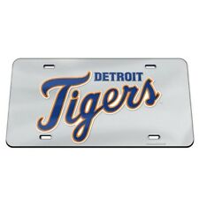 Detroit Tigers License Plate Mirrored Acrylic Silver
