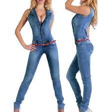 summer ladies Denim Jumpsuit Overalls Rompers Shirt  Pants Jeans Bodysuit