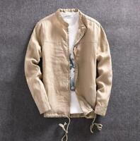 Japanese Mens Cotton Linen Casual Coat Short Jacket Long Sleeve Zipper Outwear
