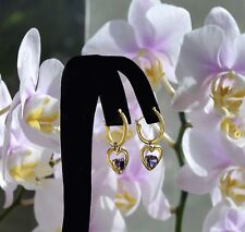 """Heart Shaped Faceted AMETHYSTS and Hoops 10k Gold  EARRINGS 1"""""""