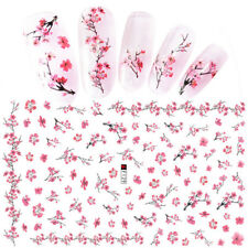 Pink Plum Blossom 3D Nail Stickers Manicure Nail Art Transfer Decals Decoration.