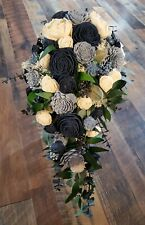 "Extra Long 24"" Navy Dusty Blue Sola Wood Cascade Bridal Bouquet Wedding Flowers"
