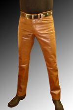 Leather Jeans Pant Real Style Men Tan Mens 501 Pants S Trousers Bikers Punk 92