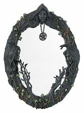 """Mother Maiden Crone Triple Goddess Mirror with Amulet 17.5"""" H-USA"""