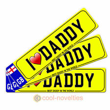 """Mini Novelty Number Plate / Bookmark """" I Love Daddy """" - Gift Idea For Dad"""