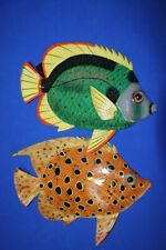 """(2) Under The Sea Kids Bath Decor Coral Reef Fish Wall Hangings, 12"""", F-45 F-48"""