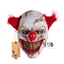 Red Hair Big Tooth Smile Clown Full Face Latex Mask Cosplay   Party Props 1pc