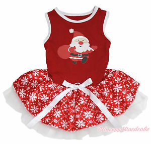 Xmas Santa Claus Red Top White Snowflake Skirt One Piece Pet Dog Dress Outfit