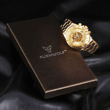 Fashion Men Gold Skeleton Stainless Steel Automatic Mechanical Sport Wrist Watch