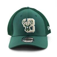 Milwaukee Bucks New Era Cap NBA 39Thirty Curved Brim Hat in Green Gym