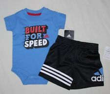 NEW~ADIDAS 2-PIECE SET LIGHT BLUE BLACK ROMPER AND SHORTS SIZE 3 MONTHS