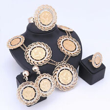 African Beads Jewelry Set Gold Plated Crystal Bridal Statement Jewelry Sets