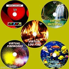 VIRTUAL FISH TANK, LOG FIRE FIREWORKS WATERFALL & LAVA LAMP, 5 SUPERB DVDs NEW