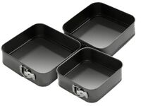 SET OF 3 SQUARE NON STICK SPRING FORM CAKE BAKING BAKE TIN TRAY BAKEWARE