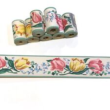 1950s Vintage Wallpaper Trimz Borders, 8 Rolls Pink & Yellow Tulips on White