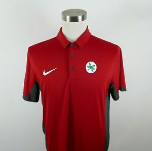 Ohio State Buckeyes Mens Polyester Dri Fit SS Red Polo Shirt by Nike Large