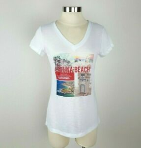 Laguna Beach Women's Medium White California Print Short Sleeve V-Neck Tee Shirt