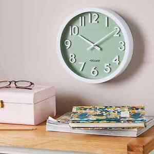 3D Numbers Wall Clock UK SELLER 25cm Green Modern Home Office Kitchen Decor NEW