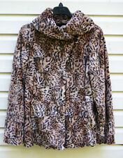 Dennis Basso Wide Collared Jacket Coat M Leopard Faux Fur Brown NEW