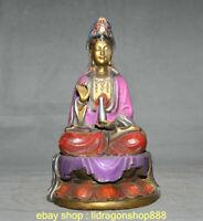 """11 """"bouddhisme peint en bronze chinois ancien Kwan-Yin Guan Yin Déesse Statue"""