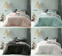 Maison Linen Cotton Vintage Wash Quilt Doona Cover Set - SB DB Queen King Super