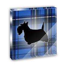 Scottie Dog on Blue Plaid Scottish Terrier Acrylic Desk Plaque Paperweight