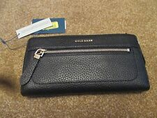 Cole Haan TALI Black Leather Continental Top Zip Wallet NEW