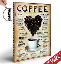Cafés del mundo Afiche A4 Foto impresión de arte de pared Tienda Cafe Pantalla Decoración
